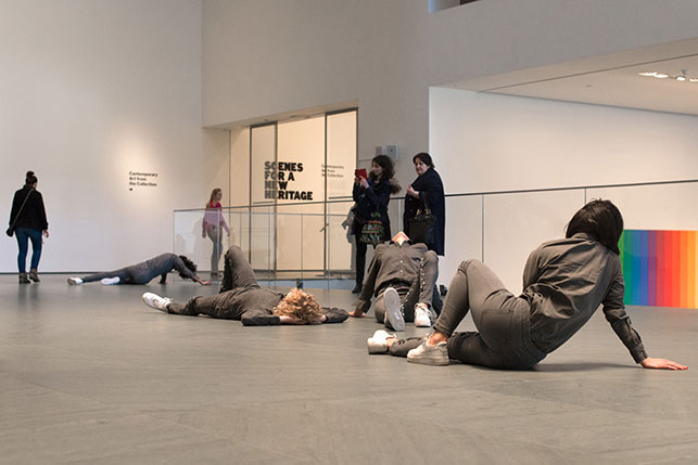 Maria Hassabi. PLASTIC. 2015. Installation view, The Museum of Modern Art, February 21–March 20, 2016. Pictured: Maria Hassabi, Oisín Monaghan, Molly Lieber, Hristoula Harakas. Photo: Thomas Poravas. © Maria Hassabi