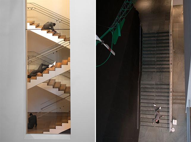 Maria Hassabi. PLASTIC. 2015. Installation views, The Museum of Modern Art, February 21–March 20, 2016. Pictured at left: Tara Lorenzen, Michael Helland, Mickey Mahar; pictured at right: Maria Hassabi. Photo: Thomas Poravas. © Maria Hassabi