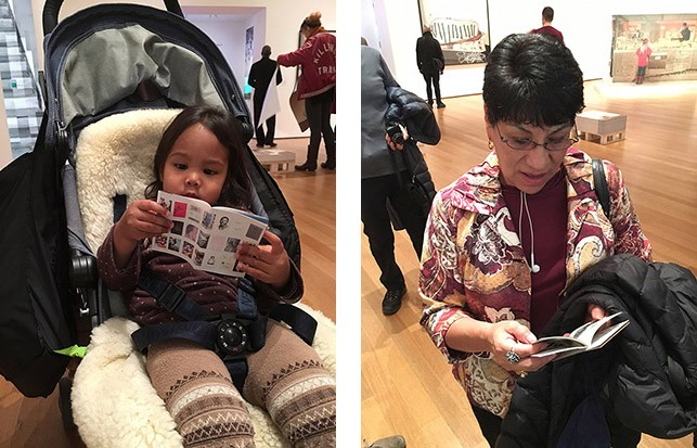 MoMA visitors look at their new mini zines. December 8, 2015. Photos: Pau Wau Publications