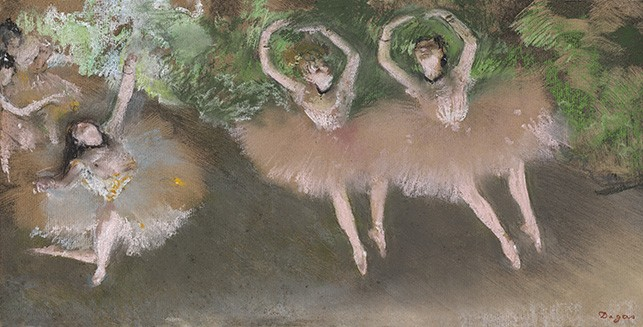 "Edgar Degas. Ballet Scene (Scène de ballet). c. 1879. Pastel over monotype on paper, plate: 8 x 16"" (20.3 x 40.6 cm). William I. Koch Collection"