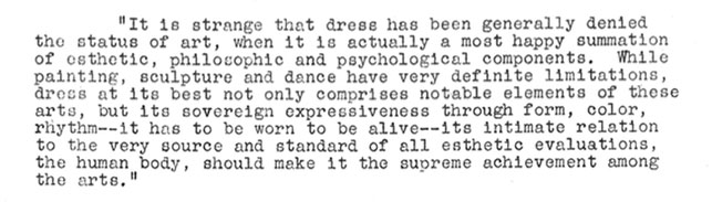 From the MoMA press release for Are Clothes Modern?, The Museum of Modern Art, November 28, 1944–March 4, 1945