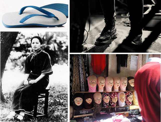 Clockwise, from upper left: São Paulo Alpargatas. Haviana. Introduced in 1962. Photo: Roberto Sena; Klaus Maertens. Doc Martens. 1960. Photo: Melanie Levi; Display figures with hijab, in east Jerusalem market. Photo: Danny-w; Cheongsam. Image in the public domain, taken in 1925. All images used via Creative Commons license