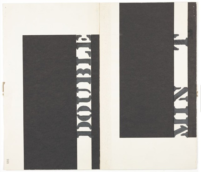 """Double Min t"" pages sent to Robert Rauschenberg care of Leo Castelli from Ray Johnson (recto). 1960. Black ink marker on paper. Ray Johnson Correspondence to Robert Rauschenberg, 18. The Museum of Modern Art Archives, New York"
