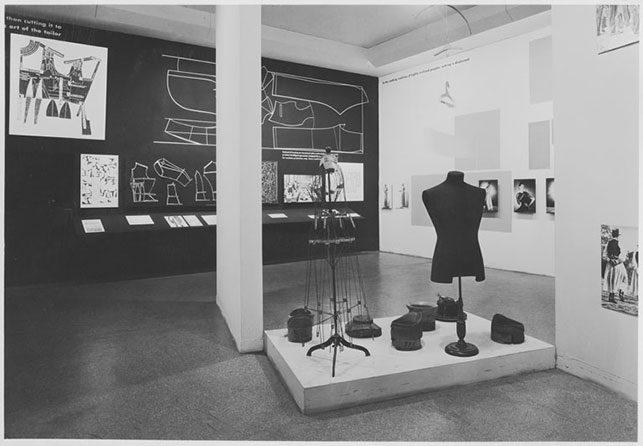Installation view of the exhibition Are Clothes Modern? The Museum of Modern Art, November 28, 1944–March 4, 1945. New York. The Museum of Modern Art Archives, Photographic Archive. Photo: Soichi Sunami
