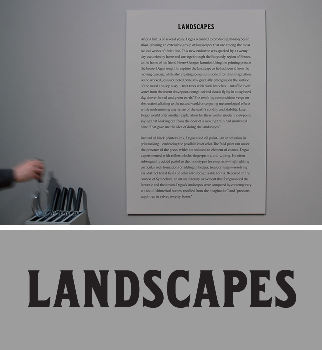 Custom typeface in use inside the exhibition galleries. Photo: Vanessa Lam
