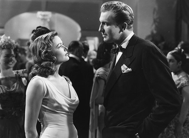 Gene Tierney and Vincent Price in Laura. 1944. USA. Directed by Otto Preminger