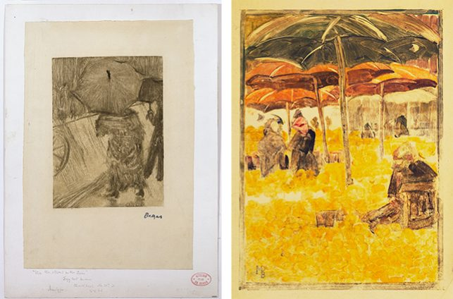 """Left: Edgar Degas. On the Street in the Rain. c. 1876–77. Monotype on paper, sheet: 10 7/16 x 7 1/16"""" (26.5 x 17.9 cm). Private collection. Courtesy Nicholas Stogdon; Right: Maurice Prendergast. Orange Market. 1900. Monotype with pencil additions, sheet: 15 11/16 x 11"""" (39.9 x 28.0 cm). The Museum of Modern Art, New York. Abby Aldrich Rockefeller Fund, 1945"""