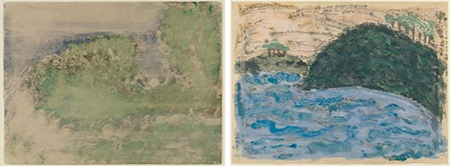 "Left: Edgar Degas. Le Cap Ferrat. 1892. Monotype in oil on paper, sheet: 11 11/16 × 15 11/16"" (29.7 × 39.9 cm), Staatliche Kunsthalle, Karlsruhe; Right: Milton Avery. Reflections. 1954. Monotype, sheet: 17 11/16 x 23 15/16"" (44.9 x 60.8 cm). The Museum of Modern Art, New York. Purchase, 1976"