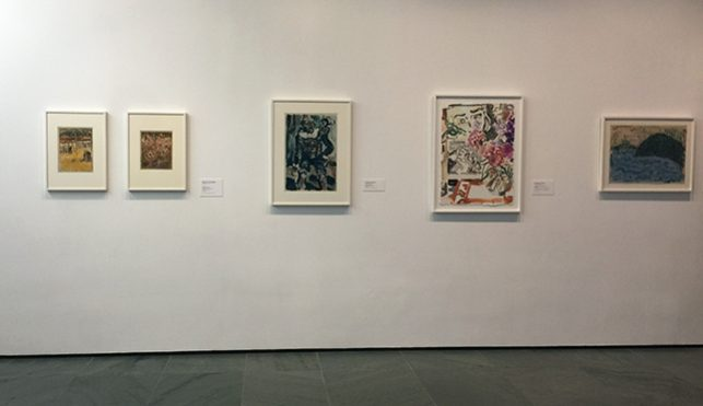 Monotypes on view on the second floor (from left to right): Maurice Prendergast. Orange Market. 1900; Maurice Prendergast. The Rehearsal. 1900; Georges Rouault. Clown with Monkey. 1910; Elizabeth Peyton. Lichtenstein, Flowers, Parsifal. 2011; Milton Avery. Reflections. 1954