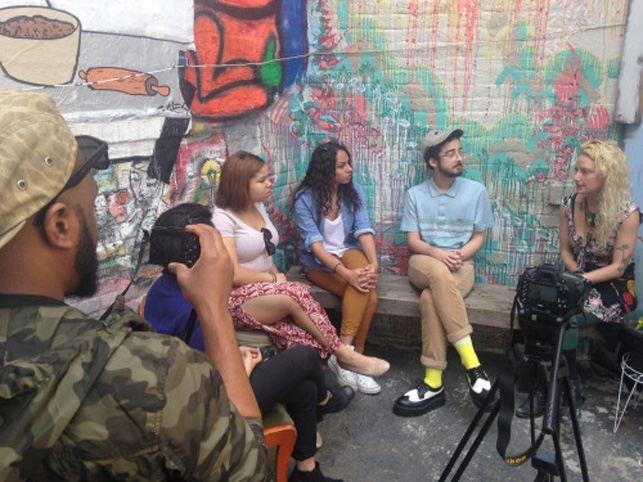 Interviewing Nyssa Frank of the Living Gallery in Brooklyn (Jonathan Santos, second from right)