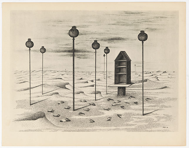 Toyen. Cache-toi, guerre! Cycle de neuf dessins (Hide Yourself, War! Cycle of Nine Drawings). 1947. Portfolio of nine photogravures. The Museum of Modern Art Library. Photo: John Wronn
