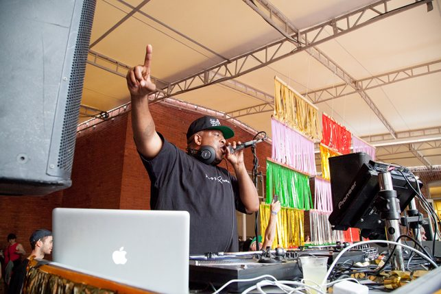 DJ Premier performs at MoMA PS1's Warm Up on June 11, 2016.  Image courtesy of MoMA PS1.  Photo: Derek Shultz