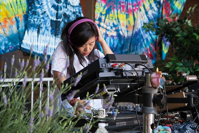 Nancy Whang performs at MoMA PS1's Warm Up on June 18, 2016. Image courtesy of MoMA PS1. Photo: Derek Schultz