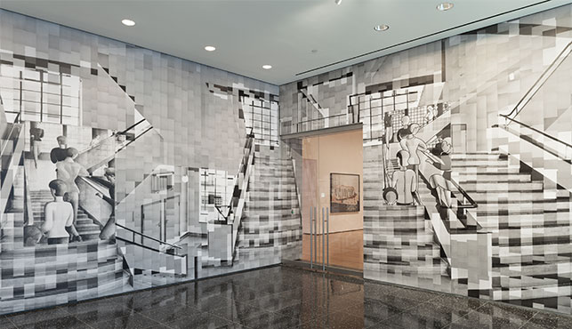 """Katharina Gaenssler. Bauhaus Staircase. 2015. Photocopies and wallpaper paste, 12' 5"""" × 32"""" (378.5 × 975.4 cm). Installation view, Ocean of Images: New Photography 2015, The Museum of Modern Art, November 7, 2015–March 20, 2016. © 2016 The Museum of Modern Art. Photo: Thomas Griesel"""