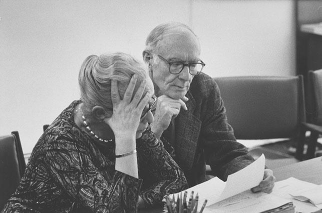"""Margaret """"Marga"""" Scolari Barr with Alfred H. Barr, Jr., January 7, 1971. Photo: Gjon Mili. Margaret Scolari Barr Papers, V.9*. The Museum of Modern Art Archives, New York"""