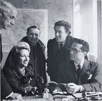 Marga Barr worked closely with the Emergency Rescue Committee, an agency based in Marseilles and led by Varian Fry, whom Barr had known at Harvard in the mid-1920s, to help artists and their patrons flee from Europe. From left: Max Ernst, Jacqueline Breton, André Masson, André Breton, and Varian Fry in Marseilles, France, 1941. Photo: Ylla (Camilla Koffler). Gift of Mrs. Varian Fry. Photographic Archive. The Museum of Modern Art Archives, New York