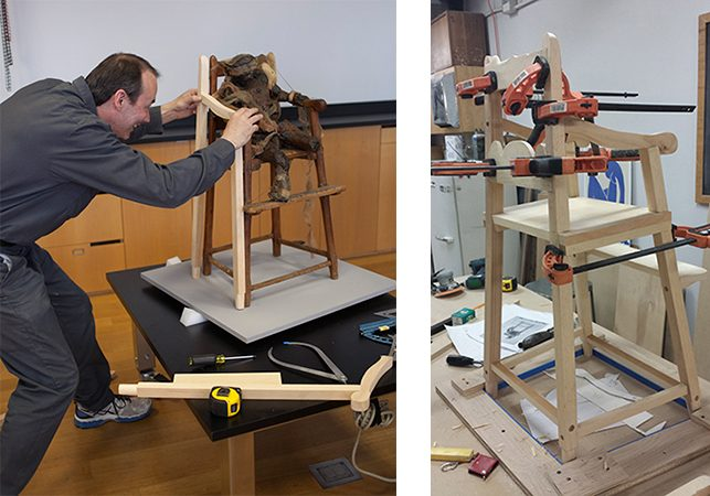 Left: MoMA carpenter John Wood taking measurements for the replica chair. Photo: Roger Griffith; Right: Replica chair during fabrication in MoMA's woodshop