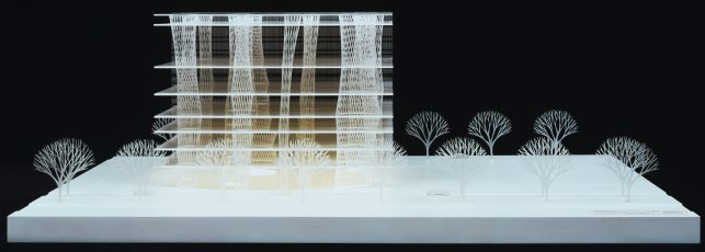 Toyo Ito & Associates, Architects. Sendai Mediatheque, Miyagi, Japan. 1995–2001. Model: acrylic, 10 5/8 x 31 1/2 x 29 1/8″ (27 x 80 x 74 cm). The Museum of Modern Art, New York. Gift of the architect in honor of Philip Johnson. © 2016 Toyo Ito