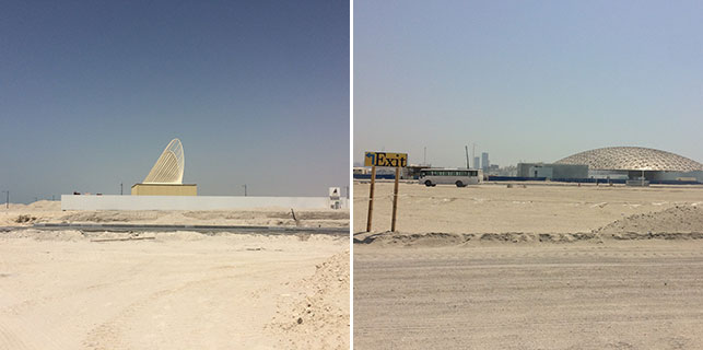 From left: Zayed National Museum construction site, Saadiyat Island, Abu Dhabi; Louvre Abu Dhabi site, Saadiyat Island. Photos: Marily Konstantinopoulou
