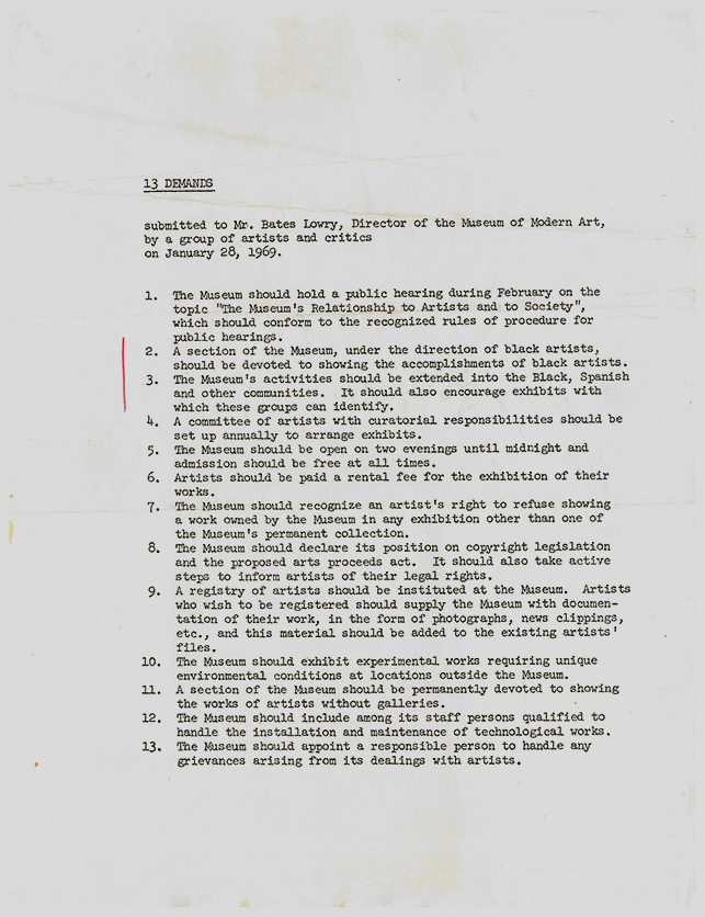 """AWC """"13 Demands.""""  Barr Papers, 1.489.  MoMA Archives, NY"""