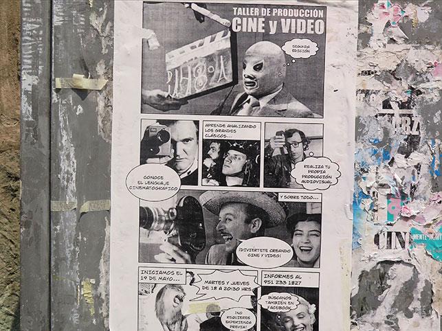 """""""Taller de Producción de Cine y Video"""" poster on a wall in Oaxaca. Photo: Anastasia Antonopoulou"""