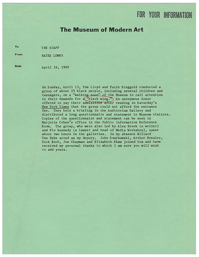 Memorandum Bates Lowry to Museum Staff, April 16, 1969.  Barr Papers, 1.489.  MoMA Archives, NY