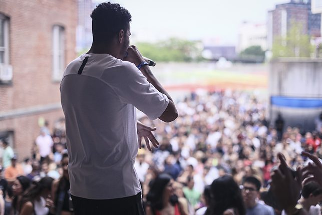 AJ Tracey performing at MoMA PS1's Warm Up on July 16, 2016. Image courtesy of MoMA PS1. Photo: Charles Roussel