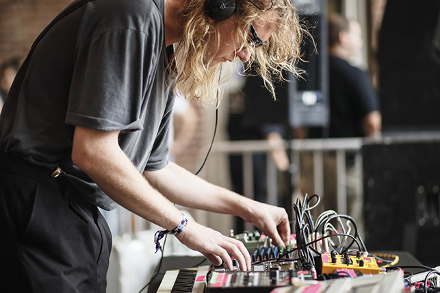 Palmbomen II performing at MoMA PS1's Warm Up on July 16, 2016. Image courtesy of MoMA PS1. Photo: Charles Roussel